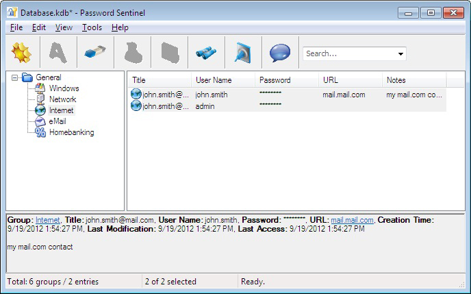 Password Sentinel freeware screenshot